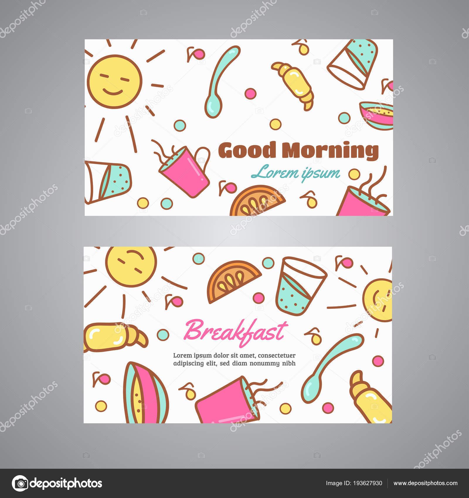 Slogan De Petit Djeuner Caf Carte Visite Concept Boulangerie Et Th Vector Design Icnes Ligne Illustration Vecteur Par Kamimi