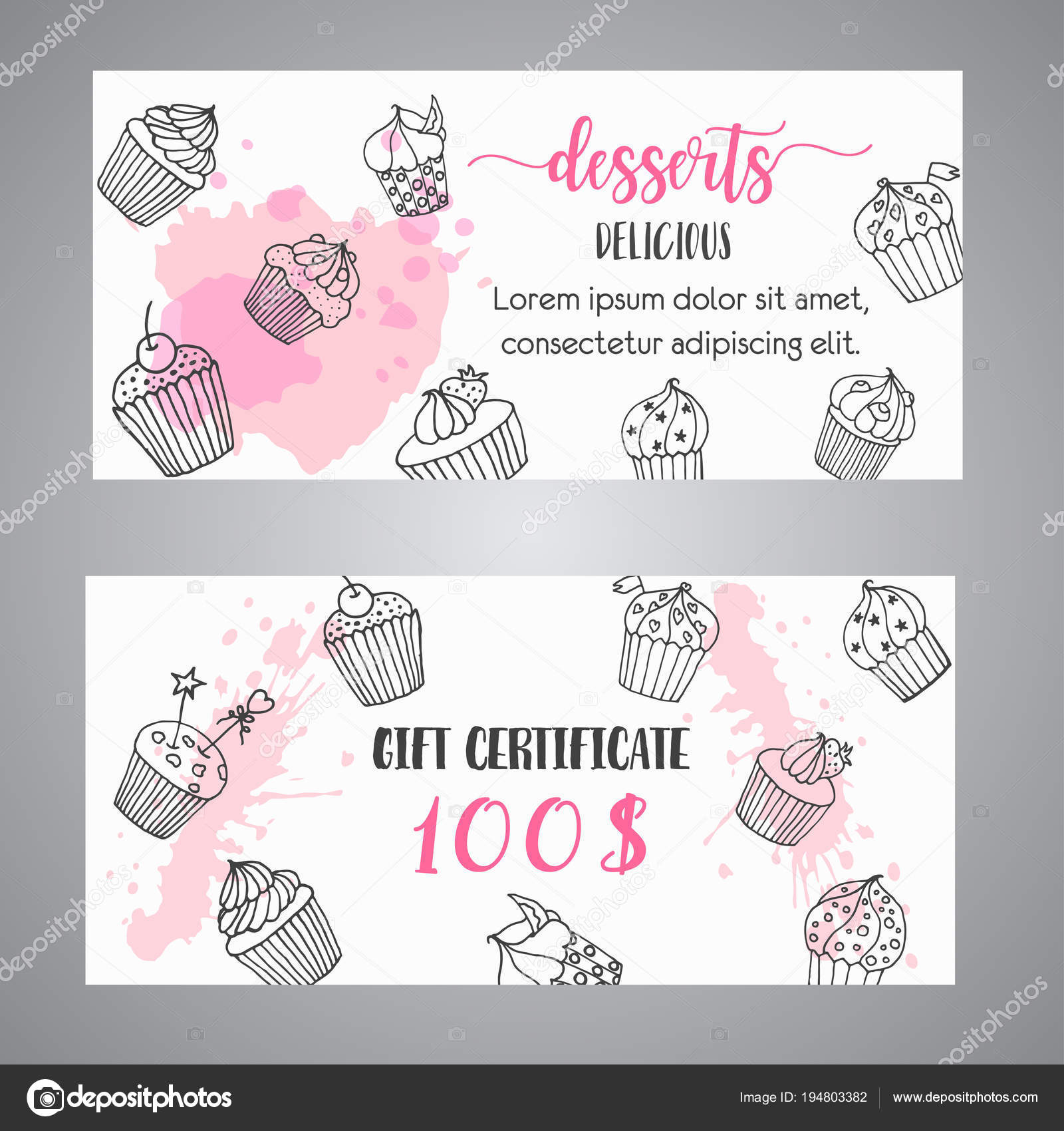 Cupcake gift certificate with handdrawn cupcakes and pink splashes cupcake gift certificate with handdrawn cupcakes and pink splashes coupon with desserts promo banner for bakery voucher template vector illustartion yelopaper Images