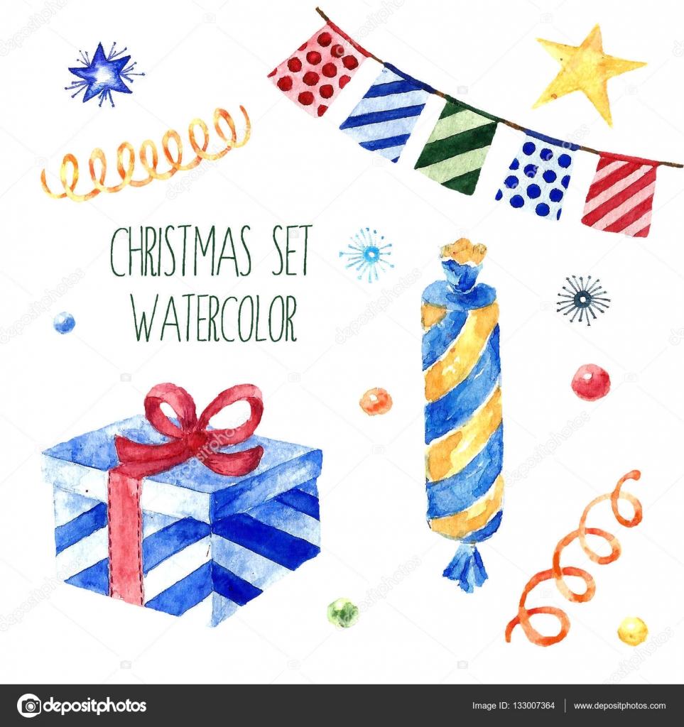 水彩のクリスマスのかわいいイラストのコレクションです。冬は