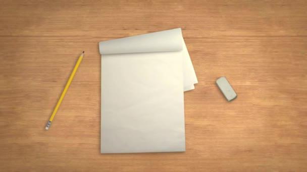 Poznámkový blok tužka a guma na stole v Stop-Motion