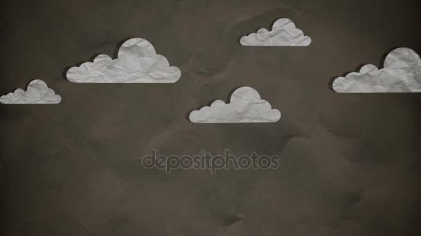 Stop-Motion-Papierwolken bewegen sich langsam