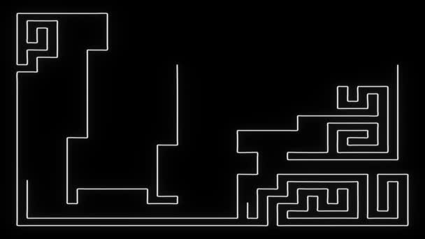 Maze Forming in White Lines on a Black Background