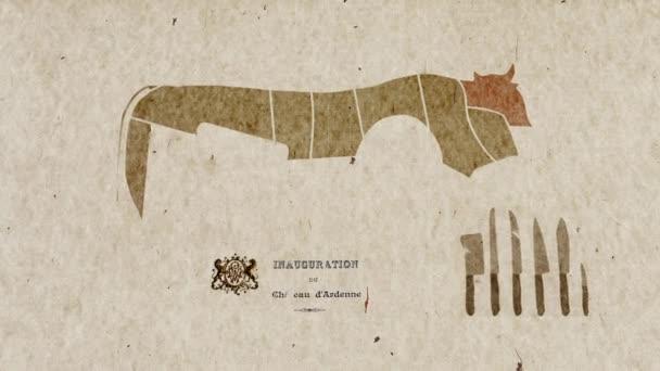Karte von Kuh Körper Teile Anatomie Zwecken Küche — Stockvideo ...
