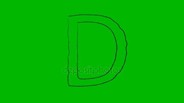 Písmena A-Z kapitálu kreslený na zelené obrazovce