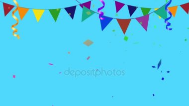 Barevné párty prvky s konfety dovnitř a ven z rámu