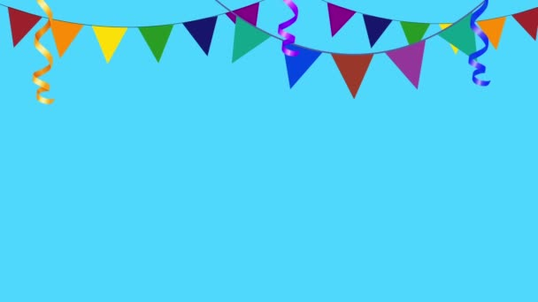 Colorful Party Flags Going in and Out of Frame