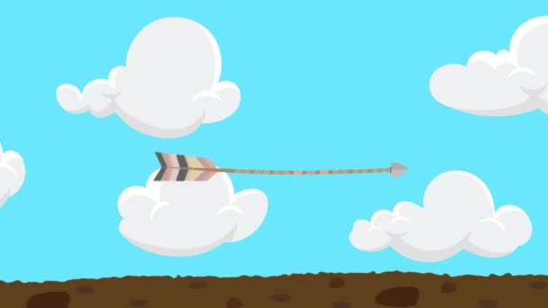 Arrow Flying And Hitting A Center Of A Target Bullseye