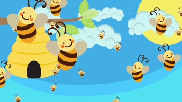 Včelí úl a spousta včel letí na krásný den