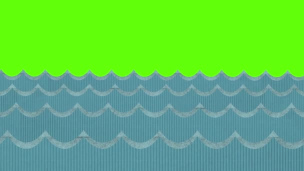 Divadelní větrno karton mořské vlny na pozadí zelená obrazovka