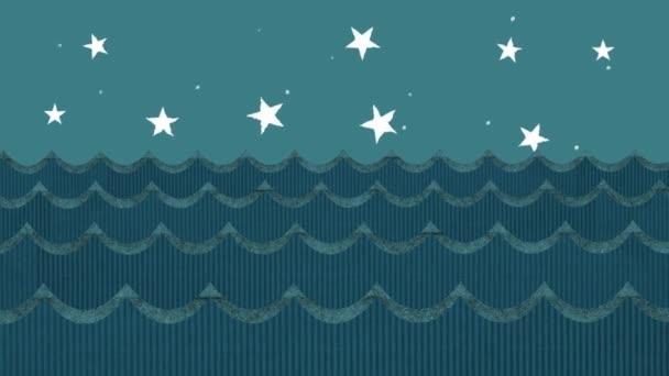 Onde del mare di cartone teatrale su un fondo del cielo notturno stellato del fumetto