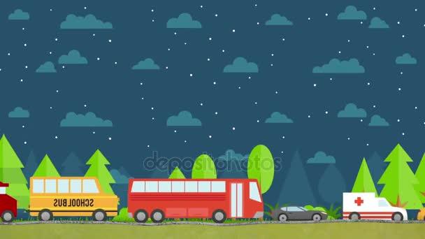 Rajzfilm vektor autók vezetési a természetben, a Starry Night