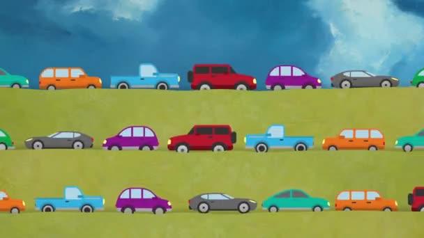 Kreslené vektorové auta jedoucí ve 3 směrech na krajinu