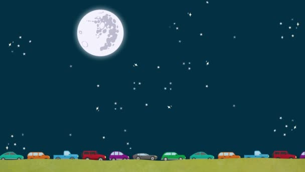 Cartoon Vector Cars Driving in Rush Hour at Night