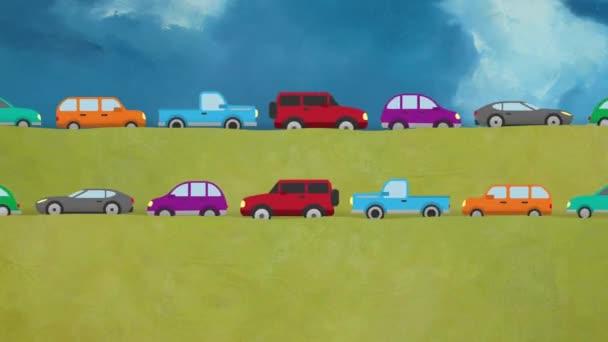 Kreslené vektorové auta jedoucí v obou směrech na krajinu