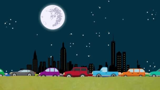 Looping-Cartoon-Vektor von Autos im dichten Verkehr auf einer New Yorker Skyline in der Nacht