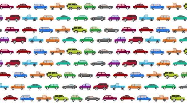 Spousta aut kreslené vektorové řízení v dopravní špičce na bílém pozadí