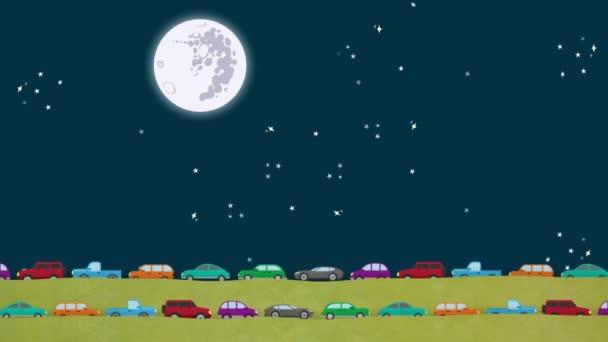 Nachts im Berufsverkehr Autos in beide Richtungen unterwegs