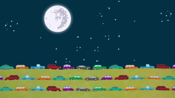Vector Cars Driving All Direction in Rush Hour at Night