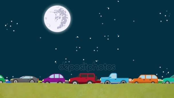 Vektor auta jízdě opačným směrem v dopravní špičce v noci