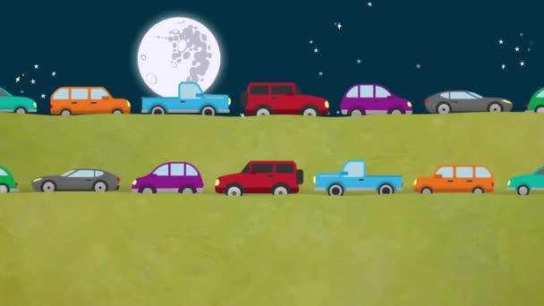 Kreslená auta jedoucí na silnici v obou směrech v noci