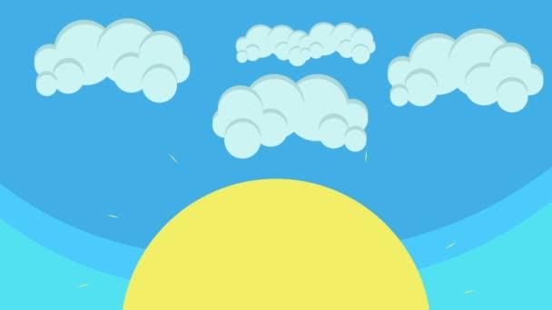 Cartoon velké slunce a opuchlé oblaka vznášející se v Blue Sky