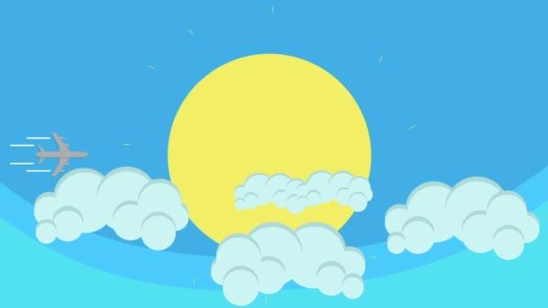 Kreslené létající letadlo přechod slunce na modré obloze