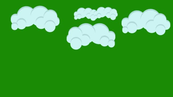 Cartoon Puffy Clouds on a Green Screen Background