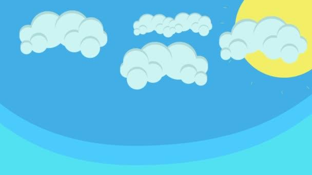 Karikatúra a Sun és a kék égen lebegő felhők alatt