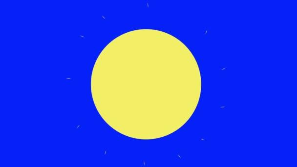 Klasický kreslený slunce na pozadí modrá obrazovka