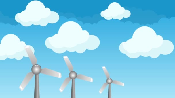 Wind Energy Power Windmills Illustration in a Cloudy Beautiful Blue Sky Background