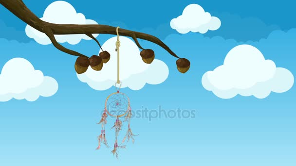 Lóg egy fa ága, a szél mozgó animált Álomfogó