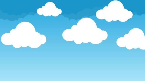 Dibujos Animados Lindo Y Esponjosas Nubes Flotando En Un Cielo Azul