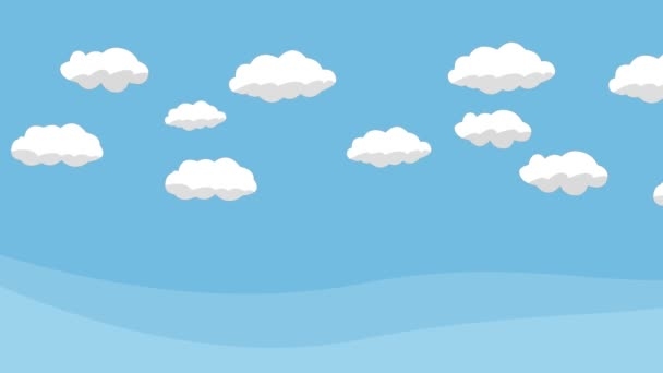 Animated Cartoon Blue Sky with White Clouds