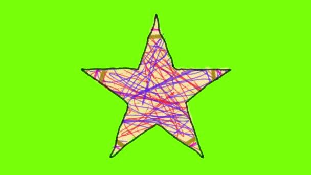 Looping igazi rajzfilm csillag Pack egy zöld képernyő háttér