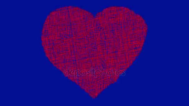 Ručně nakreslil srdce kreslené na pozadí modrá obrazovka