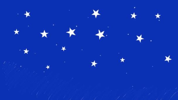 Ručně nakreslil kreslený hvězd na pozadí modrá obrazovka