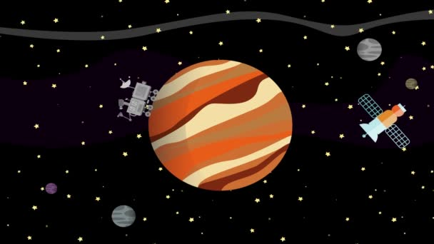 Satellite and Space Rover Collecting Data from Planet Jupiter