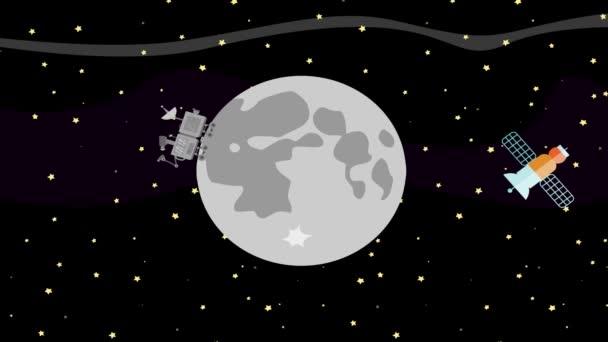 Satellit und Weltraumrover sammeln Daten vom Mond