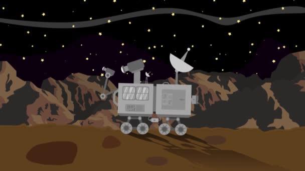 Vozítko na planetě Marsu v noci