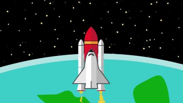 Űrhajó repült a bolygó Föld hátrahagyva az űrbe
