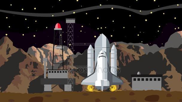 Start raketoplánu z vesmíru spuštění stanice v noci