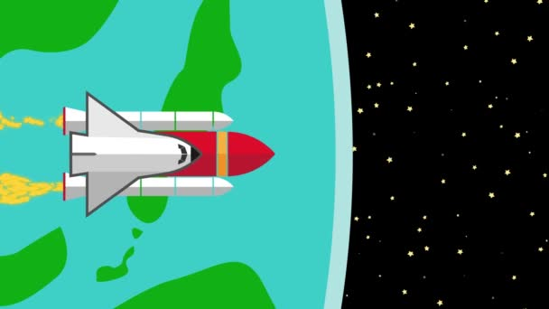 Spacecraft Shuttle Flying from Planet Earth into Space