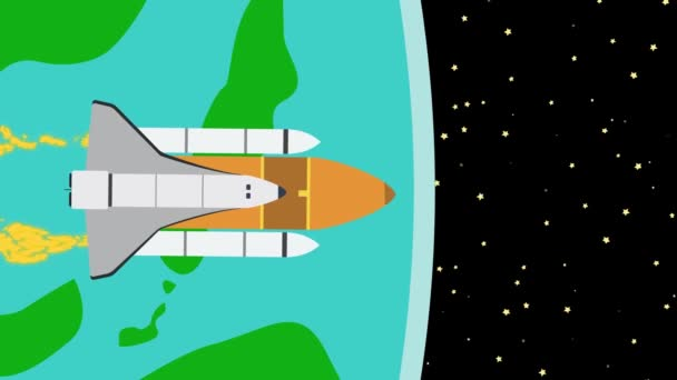 Spaceship Leaving Earth Into Outer Space