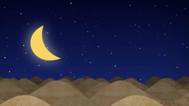 Animovaný film pouštní duny na hvězdné noci se měsíc