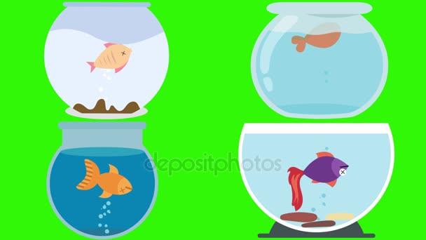 Cartoon-Fisch-Schalen mit Tote Fische auf einem grünen Bildschirm