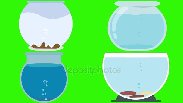 Různé kreslené prázdné akvária na zelené obrazovce