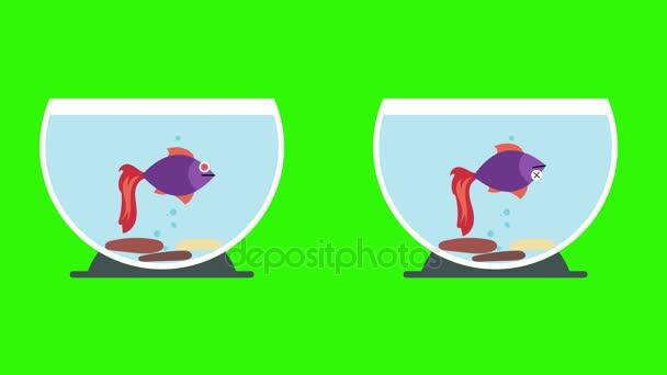 Cartoon-Aquarien mit Tote Fische und lebende Fische