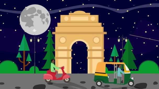 cartoon india gate in delhi in einer Vollmondnacht mit vorbeifahrenden Rikschas