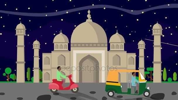 The Taj Mahal at Night with Rickshaws Passing by in Cartoon Style