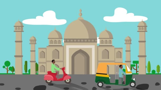 The Taj Mahal with Rickshaws Passing by in Cartoon Style
